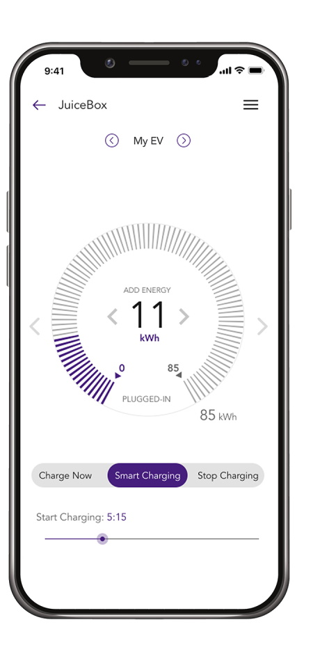 JuiceNet Smartphone App for JuiceBox 32 - Smart 22 kW Wallbox - EV charging - real-time energy market data