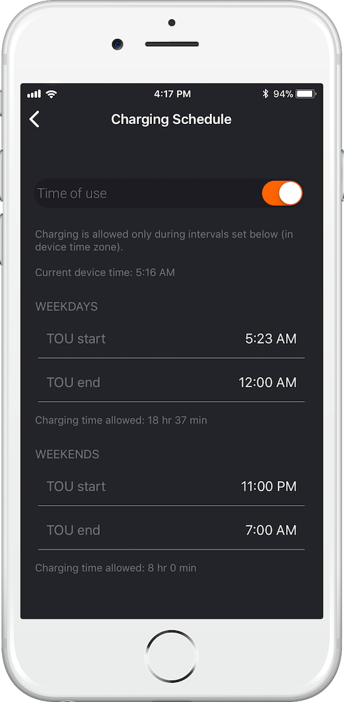 JuiceNet App for JuiceBox - EV charging Scheduling